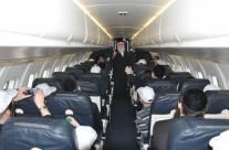 הגאון ר' אהרון צבי מרמורשטיין נושא דברים במטוס