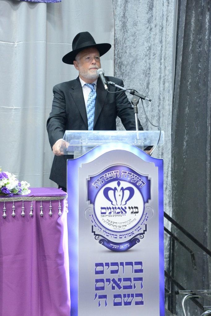יו''ר 'בני אמונים' הרב יעקב דב מרמורשטיין נושא דברים